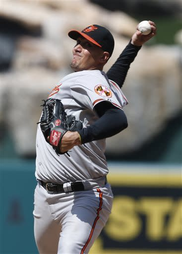 Baltimore Orioles starter Freddy Garcia delivers a pitch in the seventh inning of a baseball game against the Los Angeles Angels in Anaheim, Calif., on Saturday, May 4, 2013. (AP Photo/Christine Cotter)