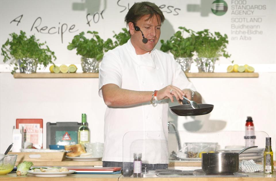 TV chef James Martin during a cooking demonstration at  Killermont primary school in Glasgow.