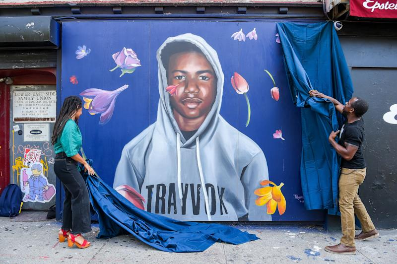 George Zimmerman was acquitted of murder in the death of Trayvon Martin, who's seen on a New York City mural in 2018. (Photo: Ben Gabbe via Getty Images)
