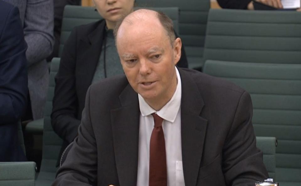Chief Medical Adviser, Department of Health and Social Care Professor Chris Whitty giving evidence to the Health and Social Care Select Committee at the Houses of Parliaament , London on the subject of preparations for Coronavirus. (Photo by House of Commons/PA Images via Getty Images)