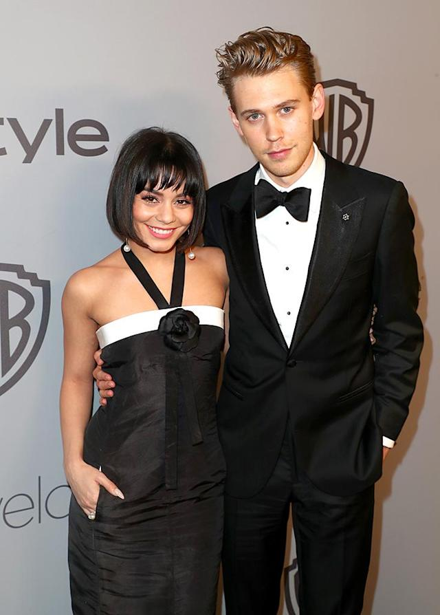 <p>Vanessa Hudgens and Austin Butler attend the InStyle and Warner Bros. Golden Globe Awards after-party. (Photo: Joe Scarnici/Getty Images for InStyle) </p>