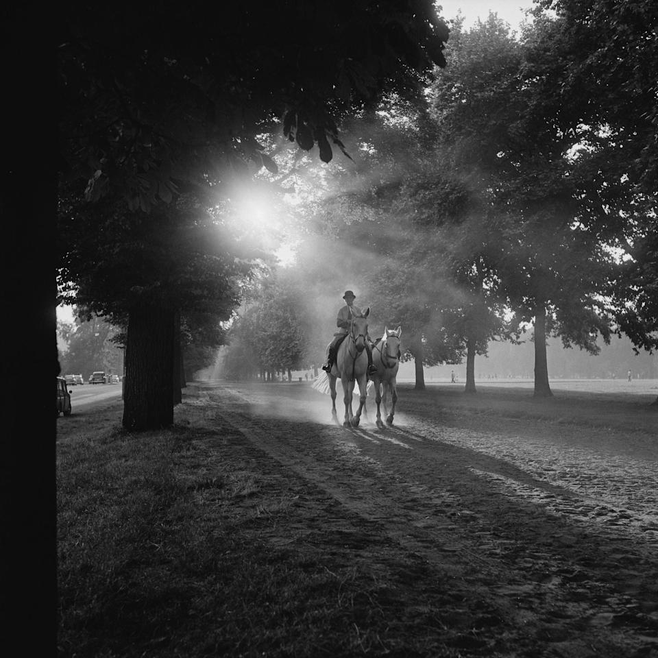 Horse riding on Rotten Row, in London's Hyde Park, circa 1965. (Photo by John Downing/Getty Images) - Getty