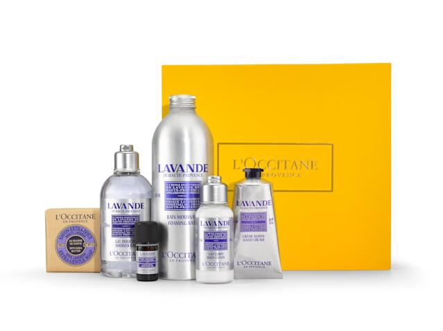 "<p>When the baby sleeps is the perfect time to unwind in a warm, soothing, lavender bath. Massage your temples with the fragrant lavender essential oil and don't forget to soothe on a skin-nourishing hand cream. Aromatic L'Occitane Lavender Collection, $89, <a href=""https://usa.loccitane.com/fragrant-lavender-collection,82,1,29211,1227370.htm#s=78851"" rel=""nofollow noopener"" target=""_blank"" data-ylk=""slk:usa.loccitane.com."" class=""link rapid-noclick-resp"">usa.loccitane.com.</a> </p>"