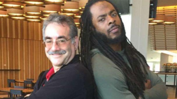 PHOTO: Cabrillo Middle School Principal Stan Garber poses with 49ers Cornerback Richard Sherman. (Cabrillo Middle School)