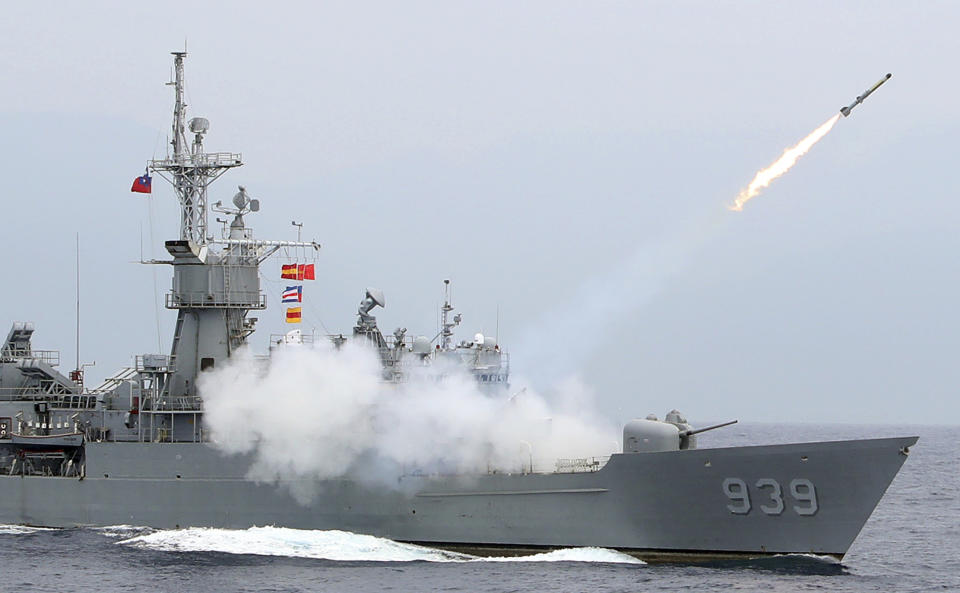 In this Wednesday, May 22, 2019, file photo, Taiwan Navy's Perry-class frigate launches an ASROC (anti-submarine rocket) during a naval exercise off Hualien County, eastern Taiwan. (AP Photo/Chiang Ying-ying, File)