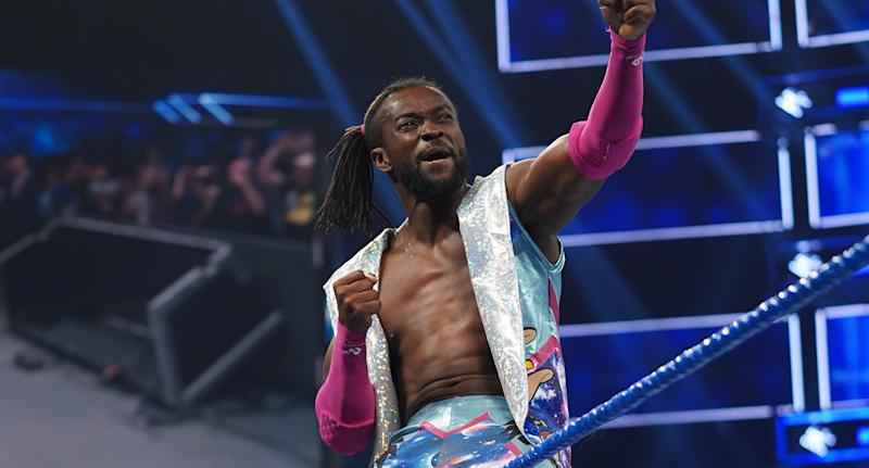 "Kofi Kingston is seen during an episode of WWE's ""Smackdown Live"" earlier in 2019. (WWE)"