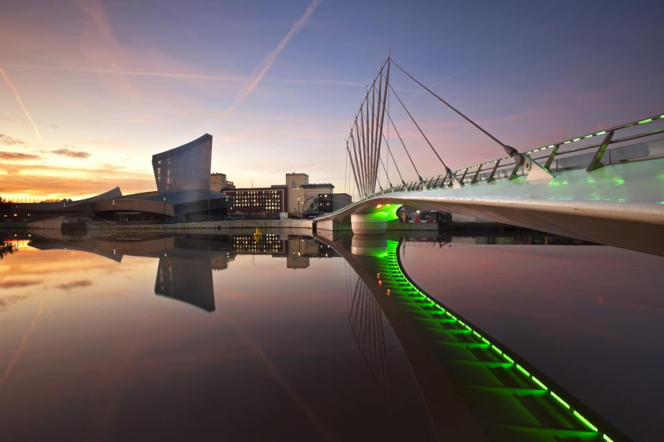 The Imperial War Museum North, Salford Quays, England. (Photo by: Loop Images/Universal Images Group via Getty Images)