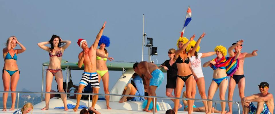 Passengers partying on board a cruise ship