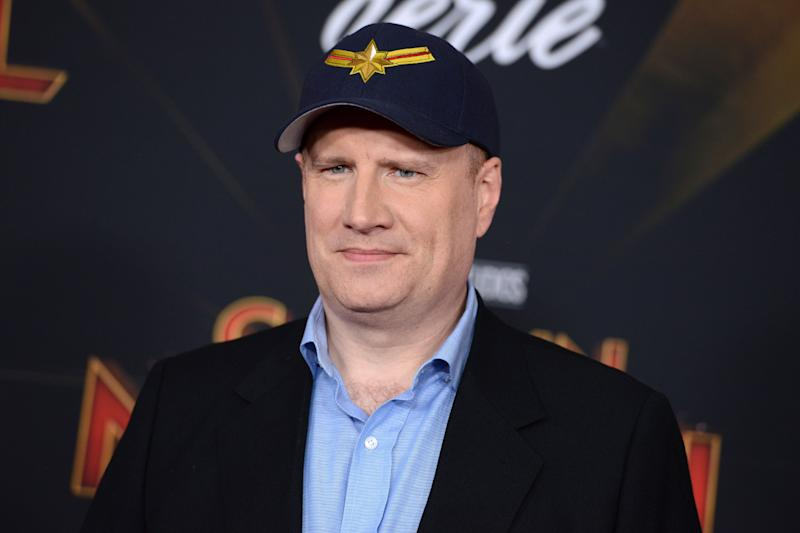 "Kevin Feige arrives at the world premiere of ""Captain Marvel"" on Monday, March 4, 2019, at the El Capitan Theatre in Los Angeles. (Photo by Jordan Strauss/Invision/AP)"