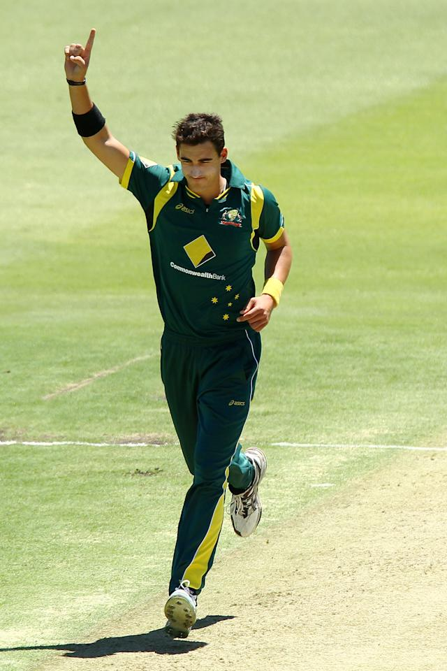 PERTH, AUSTRALIA - FEBRUARY 01:  Mitchell Starc of Australia celebrates taking the wicket of Kieran Powell during game one of the Commonwealth Bank One Day International Series between Australia and the West Indies at WACA on February 1, 2013 in Perth, Australia.  (Photo by Will Russell/Getty Images)