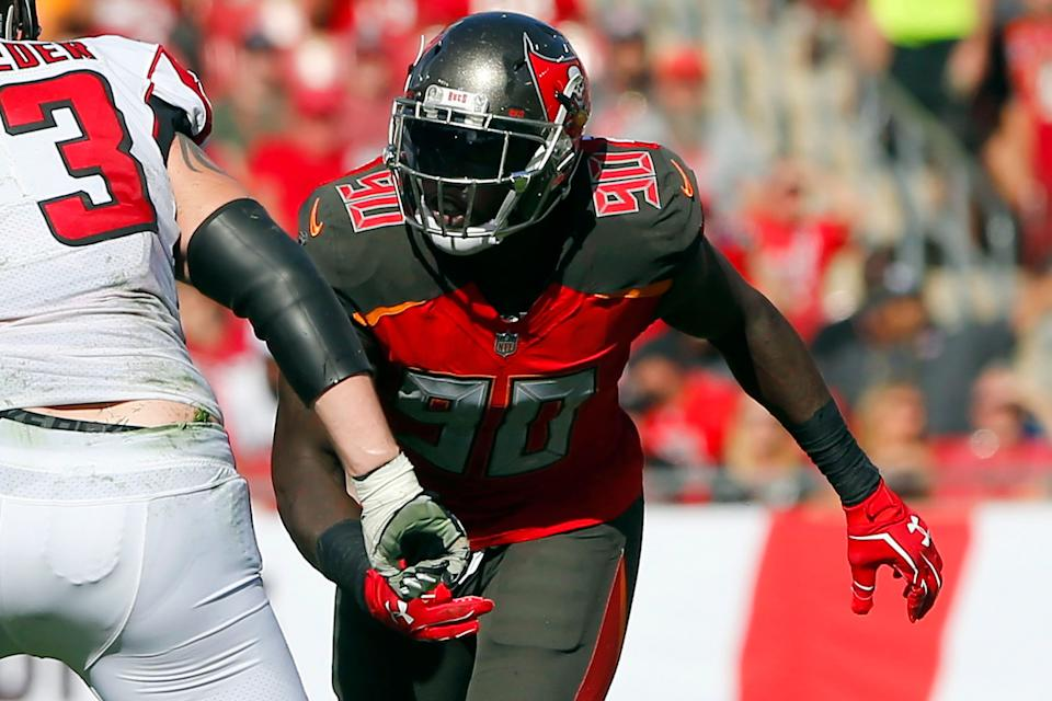 TAMPA, FL - DEC 30: Jason Pierre-Paul (90) of the Bucs rushes the passer during the regular season game between the Atlanta Falcons and the Tampa Bay Buccaneers on December 30, 2018 at Raymond James Stadium in Tampa, Florida. (Photo by Cliff Welch/Icon Sportswire via Getty Images)