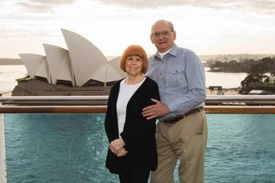 Princess Cruises' most-travelled guest Ilene Weiner, and her companion Carl Cutting, enjoy her favorite destination – Australia – pictured in front of the iconic Sydney Opera House aboard Golden Princess.