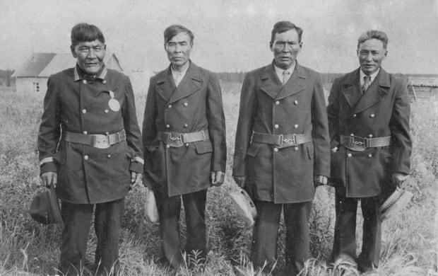 Kyikavichik's great-grandfather, Chief Johnny Kay Sr., second from left.