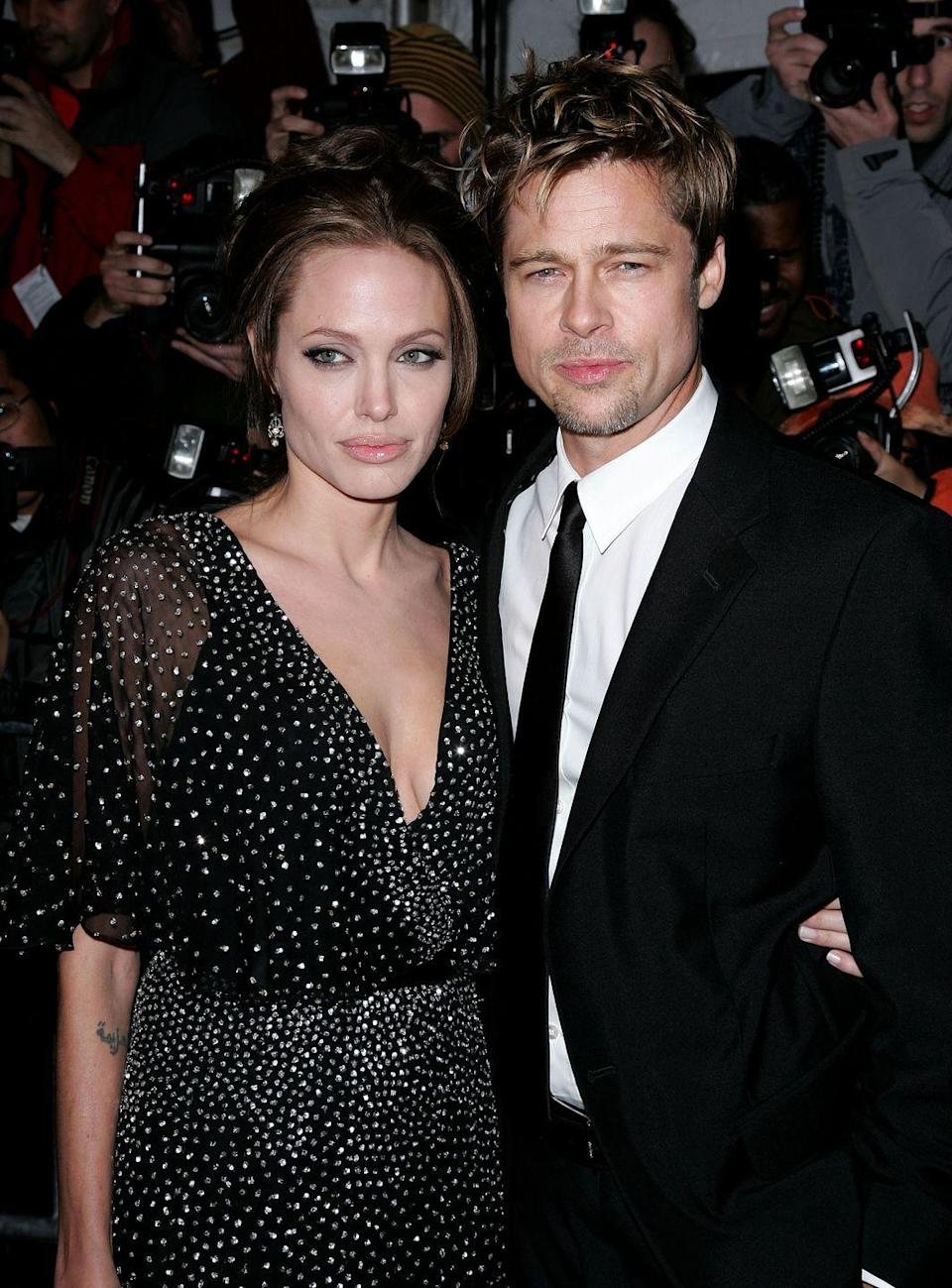 """<p>In 2005, Brad Pitt starred in <em><a href=""""https://www.imdb.com/title/tt0356910/?ref_=nm_flmg_act_30"""" rel=""""nofollow noopener"""" target=""""_blank"""" data-ylk=""""slk:Mr. & Mrs. Smith"""" class=""""link rapid-noclick-resp"""">Mr. & Mrs. Smith</a></em>, an action movie, with Angelina Jolie and, you guessed it — the costars <a href=""""https://www.redbookmag.com/love-sex/g4374/celebrity-couples-who-fell-in-love-onscreen/"""" rel=""""nofollow noopener"""" target=""""_blank"""" data-ylk=""""slk:fell in love on set"""" class=""""link rapid-noclick-resp"""">fell in love on set</a>. Aniston and Pitt divorced shortly thereafter.</p>"""