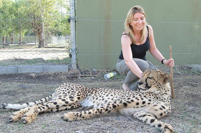 Angela Saurine pats a cheetah at Casela Bird and Nature Park in Mauritius. Photo: Supplied