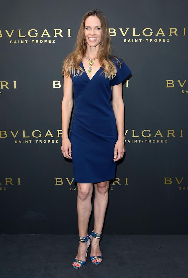 SAINT-TROPEZ, FRANCE - JULY 16: Actress Hilary Swank attends Official Opening Bulgari's Boutique In Saint-Tropez on July 16, 2013 in Saint-Tropez, France. (Photo by Venturelli/WireImage for Bulgari)