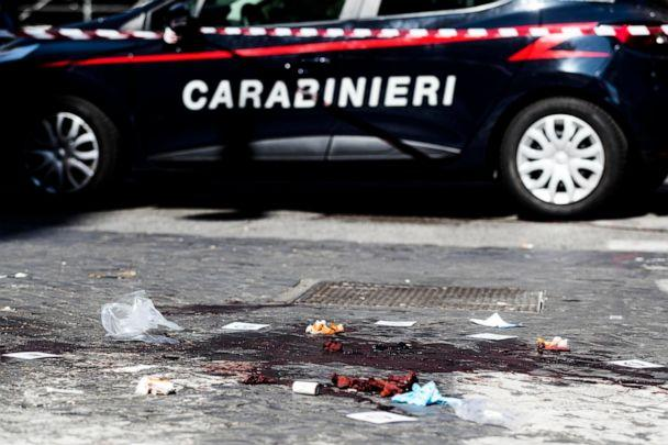 PHOTO: A car of the Italian Carabinieri, paramilitary police, is parked near the site where Carabiniere Vice Brigadier Mario Cerciello Rega was stabbed to death in Rome, July 26, 2019. (Angelo Carconi/ANSA Via AP)