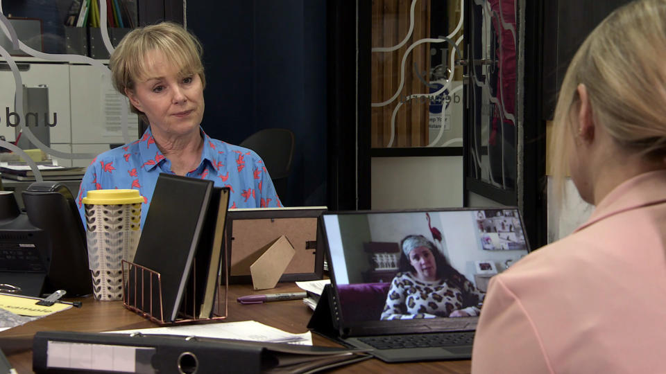 FROM ITV  STRICT EMBARGO - No Use Before Tuesday 29th June 2021  Coronation Street - Ep 1037273  Friday 9th July 2021  Sarah Barlow [TINA O'BRIEN] assures Izzy Armstrong [CHERYLEE HOUSTON] that she needn't worry as the deadline for the order is flexible.   Picture contact David.crook@itv.com   This photograph is (C) ITV Plc and can only be reproduced for editorial purposes directly in connection with the programme or event mentioned above, or ITV plc. Once made available by ITV plc Picture Desk, this photograph can be reproduced once only up until the transmission [TX] date and no reproduction fee will be charged. Any subsequent usage may incur a fee. This photograph must not be manipulated [excluding basic cropping] in a manner which alters the visual appearance of the person photographed deemed detrimental or inappropriate by ITV plc Picture Desk. This photograph must not be syndicated to any other company, publication or website, or permanently archived, without the express written permission of ITV Picture Desk. Full Terms and conditions are available on  www.itv.com/presscentre/itvpictures/terms