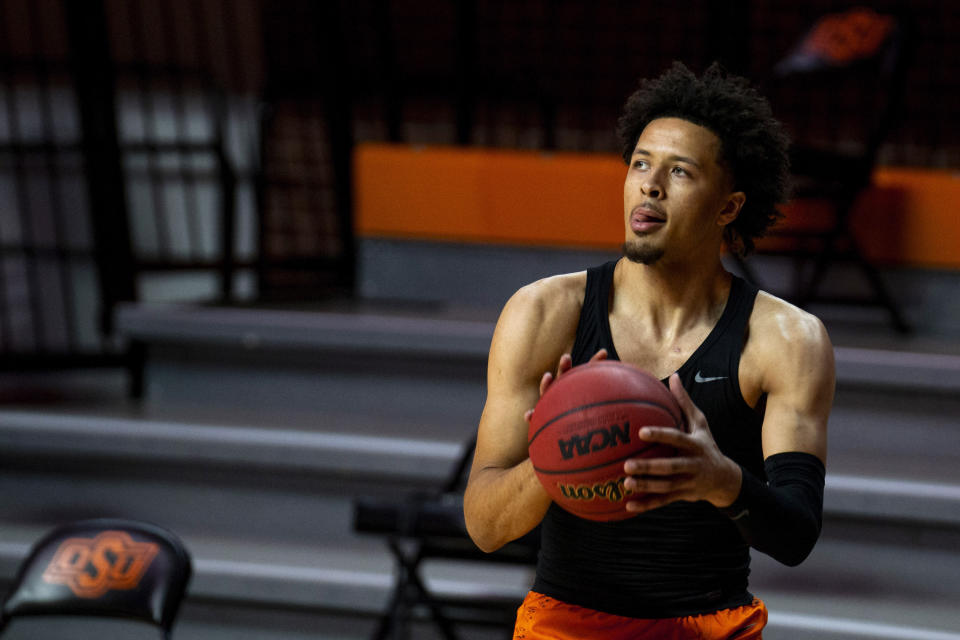 Cade Cunningham warms up before a game.