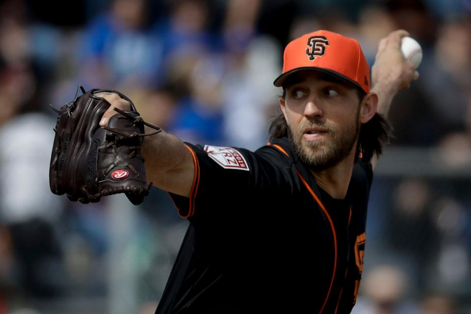 Will this be Madison Bumgarner's final opening day in a Giants uniform? (AP Photo/Chris Carlson)