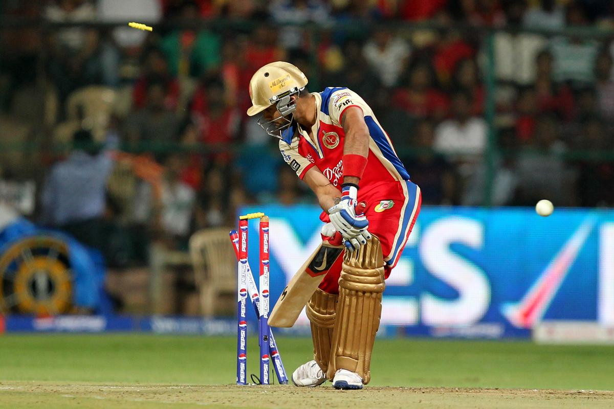 Virat Kohli dismissed by James Faulkner during match 27 of the Pepsi Indian Premier League between The Royal Challengers Bangalore and The Rajasthan Royals held at the M. Chinnaswamy Stadium, Bengaluru  on the 20th April 2013. (BCCI)