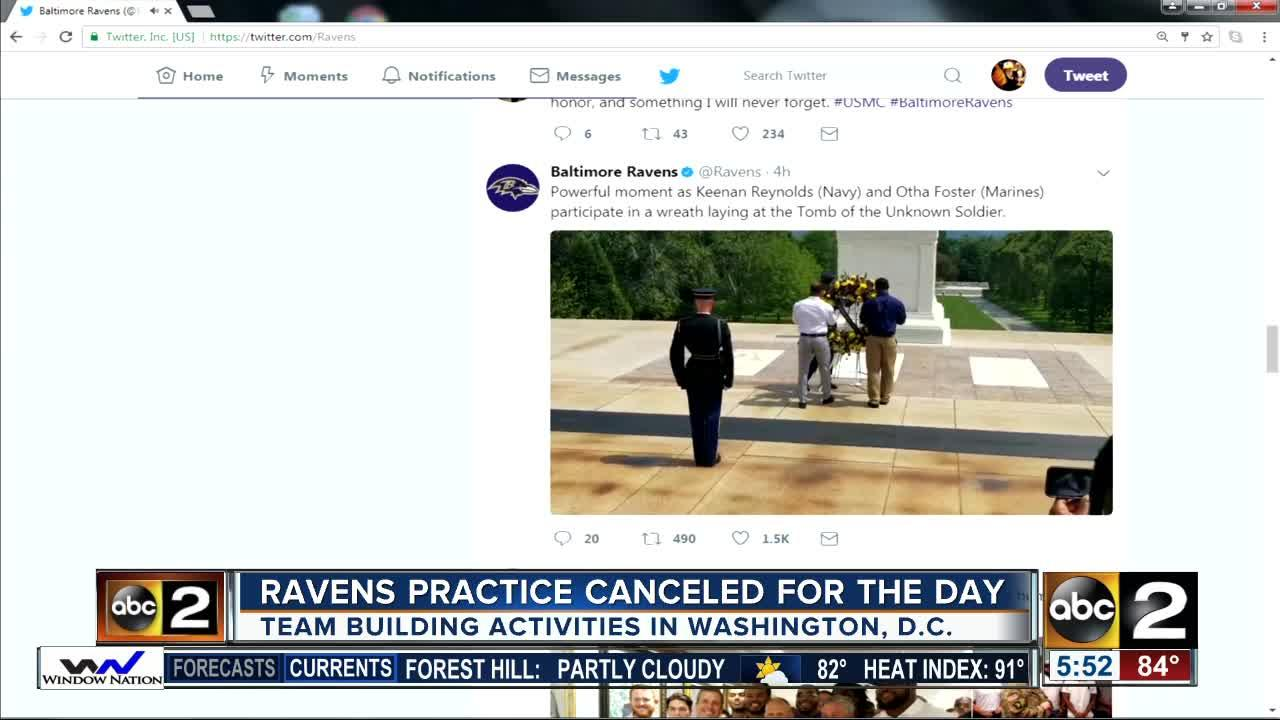 Ravens coach John Harbaugh announced Monday he was changing the team's schedule to allow for the tour. The Ravens' itinerary includes the laying of a wreath at the Tomb of the Unknown Soldier, a visit to President John F. Kennedy's gravesite at Arlington National Cemetery and a lunch at Patton Hall.