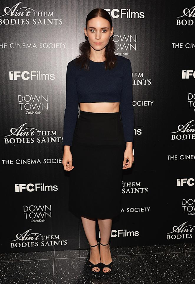 """NEW YORK, NY - AUGUST 13:  Actor Rooney Mara attends the Downtown Calvin Klein with The Cinema Society screening of IFC Films' """"Ain't Them Bodies Saints"""" at the Museum of Modern Art on August 13, 2013 in New York City.  (Photo by Andrew H. Walker/Getty Images)"""