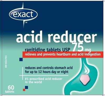 Acid Reducer (ranitidine) sold under the brand name exact (CNW Group/Health Canada)
