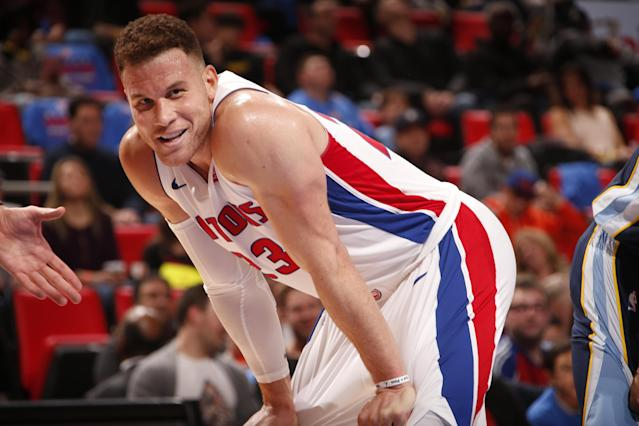 Blake Griffin smiles like a man who finally has his full uniform back. (Getty)