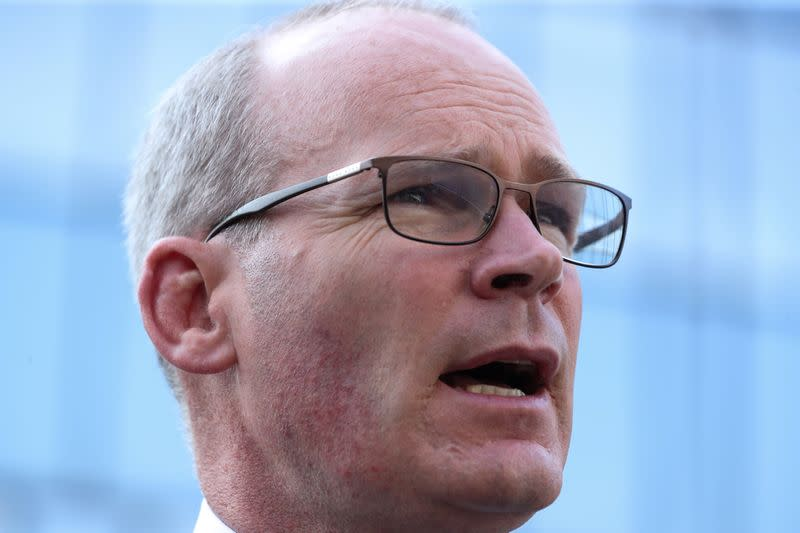 FILE PHOTO: Irish Foreign Minister Simon Coveney, speaks to the media, in Brussels