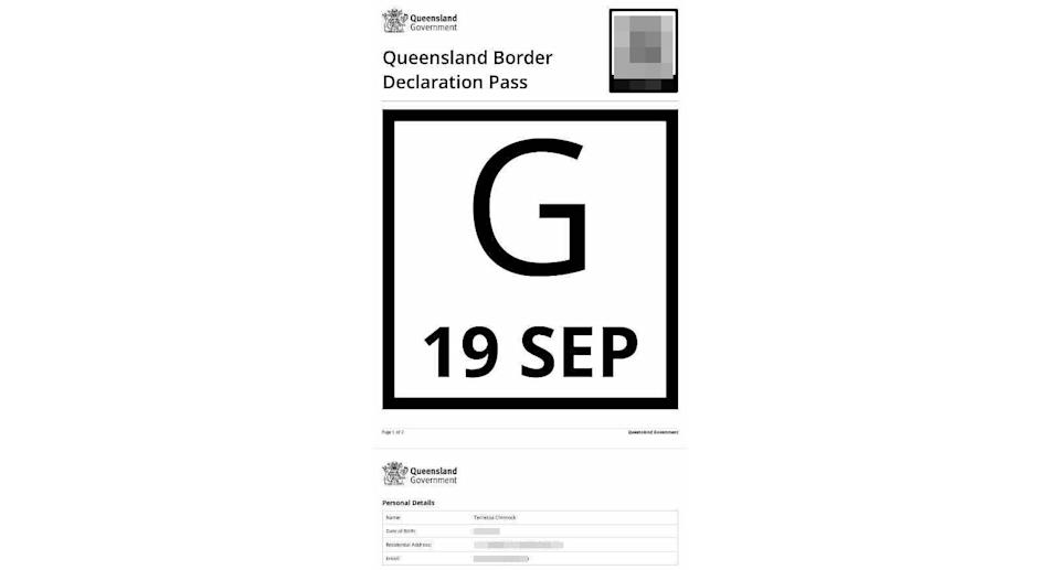 A screenshot of the border pass which police deemed invalid. Source: Supplied