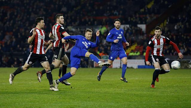 "Soccer Football - Championship - Sheffield United vs Cardiff City - Bramall Lane, Sheffield, Britain - April 2, 2018 Cardiff City's Anthony Pilkington scores their first goal Action Images/Ed Sykes EDITORIAL USE ONLY. No use with unauthorized audio, video, data, fixture lists, club/league logos or ""live"" services. Online in-match use limited to 75 images, no video emulation. No use in betting, games or single club/league/player publications. Please contact your account representative for further details."