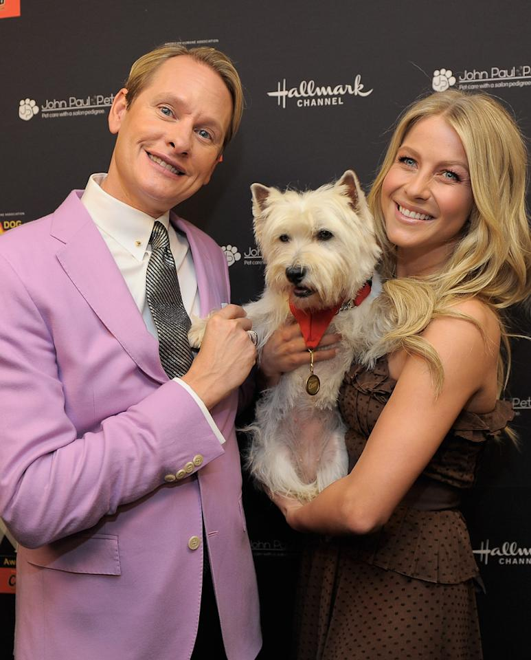 "One of this season's ""Dancing With the Stars"" contestants, Carson Kressley, mingled with one of the show's former pros, Julianne Hough, at the American Hero Dog Awards presented by Cesar Canine Cuisine at The Beverly Hilton on Saturday night where the two made a new friend -- a pup named Darla. Charley Gallay/<a href=""http://www.wireimage.com"" target=""new"">WireImage.com</a> - October 1, 2011"