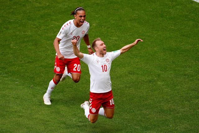 Soccer Football - World Cup - Group C - Denmark vs Australia - Samara Arena, Samara, Russia - June 21, 2018 Denmark's Christian Eriksen celebrates with Yussuf Poulsen after scoring their first goal REUTERS/David Gray TPX IMAGES OF THE DAY