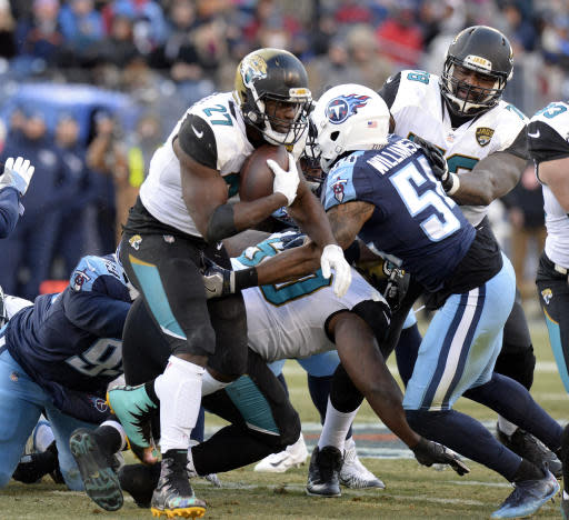 FILE - In this Dec. 31, 2017, file photo, Jacksonville Jaguars running back Leonard Fournette (27) runs the ball against Tennessee Titans inside linebacker Avery Williamson (54) in an NFL football game in Nashville, Tenn. The Titans were the NFL's best at stopping the run over the past two years, but through two games, they're struggling to stop anyone. Fournette will give them a chance to show just how much better they can be when the two teams play Sunday. (AP Photo/Mark Zaleski, File)
