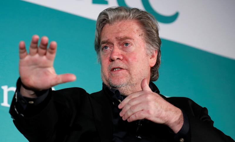 "Former White House Chief Strategist Steve Bannon participates in a Hudson Institute conference called ""Countering Violent Extremism: Qatar, Iran and the Muslim Brotherhood"" on Monday in Washington. (Kevin Lamarque / Reuters)"