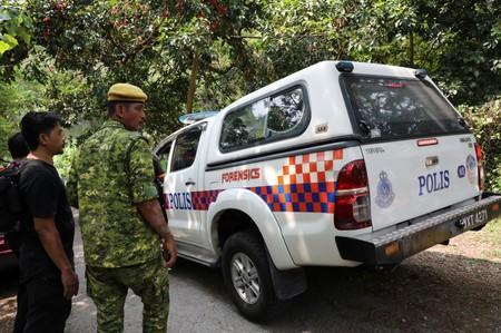 A police forensic vehicle enters the Dusun Resort, where 15-year-old Irish girl Nora Anne Quoirin went missing in Seremban