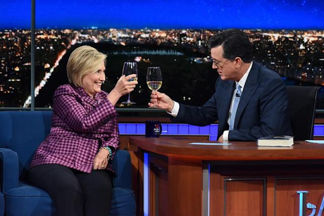<p>When Clinton went on <em>The Late Show With Stephen Colbert</em> last month — for her first post-election appearance on late night — the two sipped Chardonnay during their chat, as friends have been known to do. (Photo: Scott Kowalchyk/CBS via Getty Images) </p>