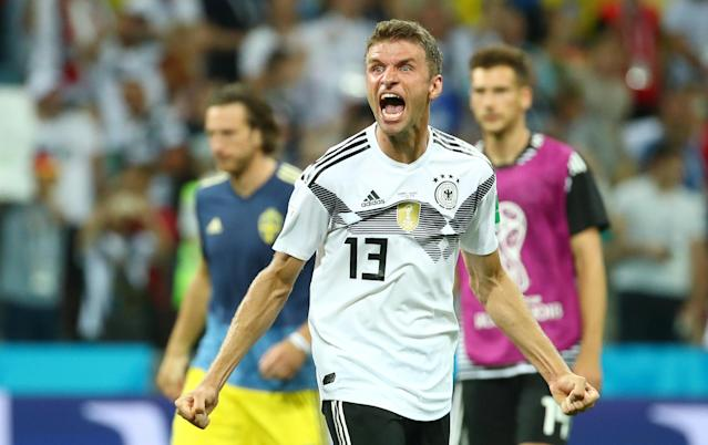 Soccer Football - World Cup - Group F - Germany vs Sweden - Fisht Stadium, Sochi, Russia - June 23, 2018 Germany's Thomas Muller celebrates after the match REUTERS/Michael Dalder
