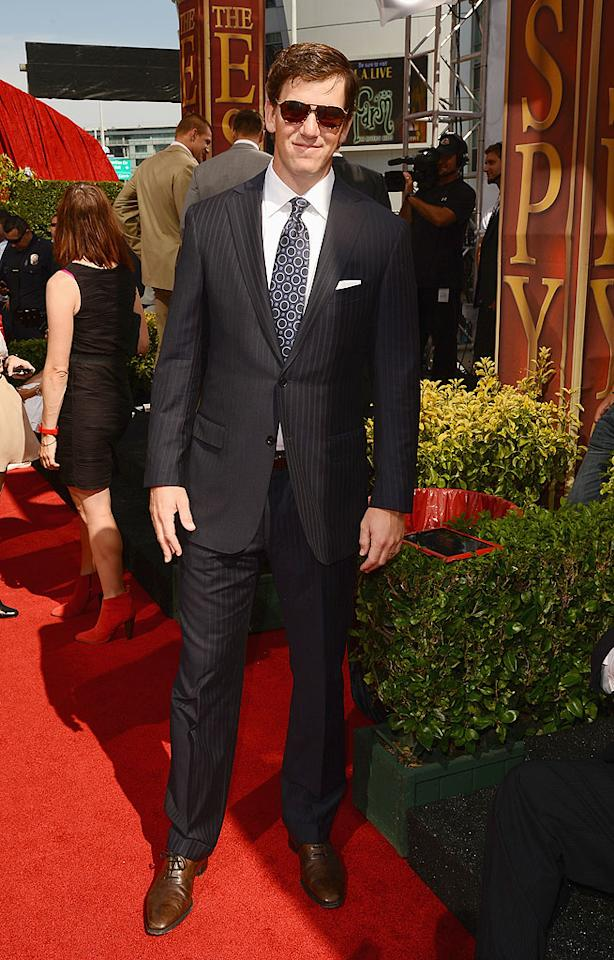Eli Manning, quarterback of Super Bowl champions the New York Giants, arrives at the 2012 ESPY Awards.<br>