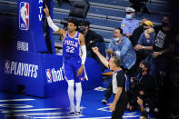 Philadelphia 76ers' Matisse Thybulle reacts after making basket during the second half of Game 2 in a second-round NBA basketball playoff series against the Atlanta Hawks, Tuesday, June 8, 2021, in Philadelphia. (AP Photo/Matt Slocum)