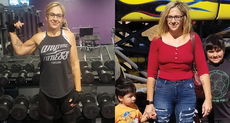 Hernandez, who lost 159 pounds, exercising at the gym (left) and with her kids (right). (Photo: Misty Hernandez)