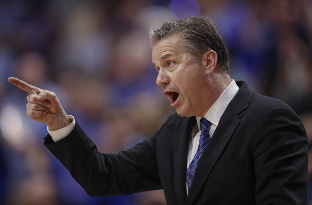 "Kentucky men's basketball coach John Calipari shot down rumors he might coach the <a class=""link rapid-noclick-resp"" href=""/nba/teams/new-york/"" data-ylk=""slk:Knicks"">Knicks</a>. (Michael Hickey/Getty Images)"