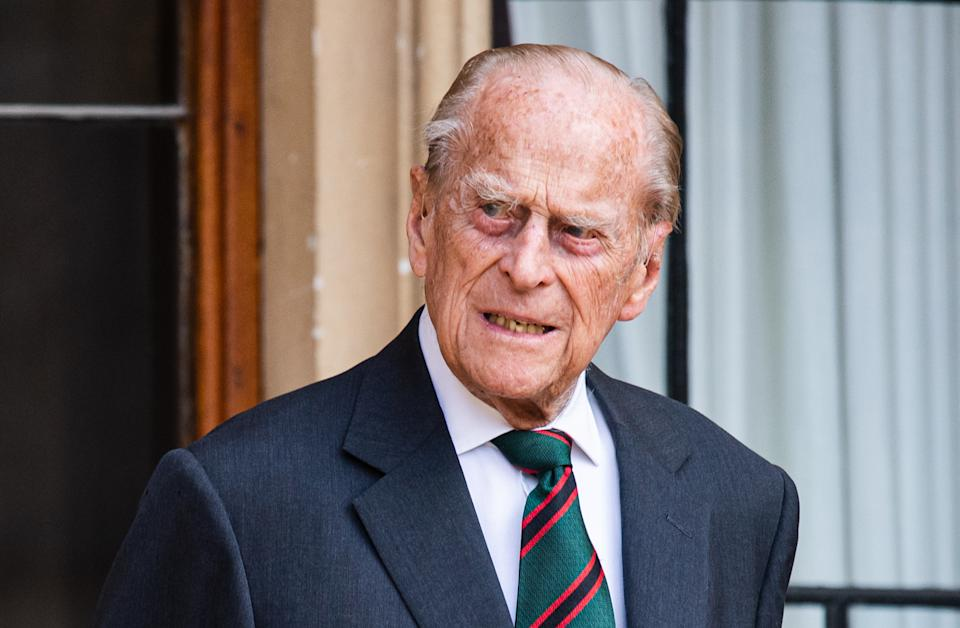 WINDSOR, ENGLAND - JULY 22: Prince Philip, Duke of Edinburgh during the transfer of the Colonel-in-Chief of The Rifles at Windsor Castle on July 22, 2020 in Windsor, England. The Duke of Edinburgh has been Colonel-in-Chief of The Rifles since its formation in 2007. HRH served as Colonel-in-Chief of successive Regiments which now make up The Rifles since 1953. The Duchess of Cornwall was appointed Royal Colonel of 4th Battalion The Rifles in 2007. (Photo by Samir Hussein/Samir Hussein/WireImage )