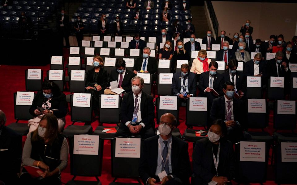 Guests are sitting in the audience ahead of the final presidential debate at Belmont University in Nashville, Tennessee, on October 22, 2020 - GETTY IMAGES