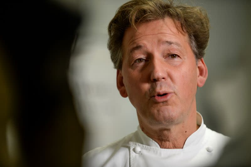 Belgian chocolatier Pierre Marcolini talks after being crowned best pastry chef in the world by his peers at international competition, in Brussels