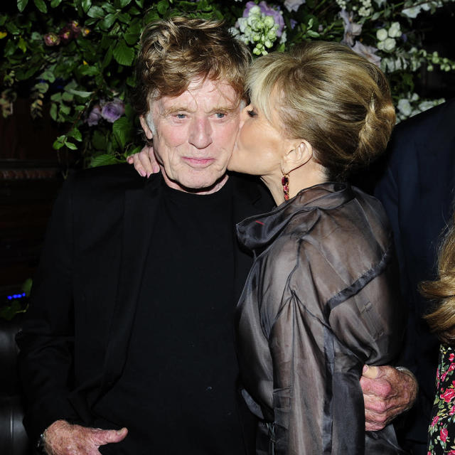"<p>Jane Fonda gave a peck to her old friend Robert Redford at the premiere of <em>Our Souls at Night</em> in New York City. Fonda certainly looks a lot more comfortable hanging with the actor than she did during her <a href=""https://www.yahoo.com/entertainment/megyn-kelly-today-review-debut-144509375.html"" data-ylk=""slk:sit-down with Megyn Kelly;outcm:mb_qualified_link;_E:mb_qualified_link"" class=""link rapid-noclick-resp newsroom-embed-article"">sit-down with Megyn Kelly</a>. (Photo: Paul Bruinooge/Patrick McMullan via Getty Images) </p>"