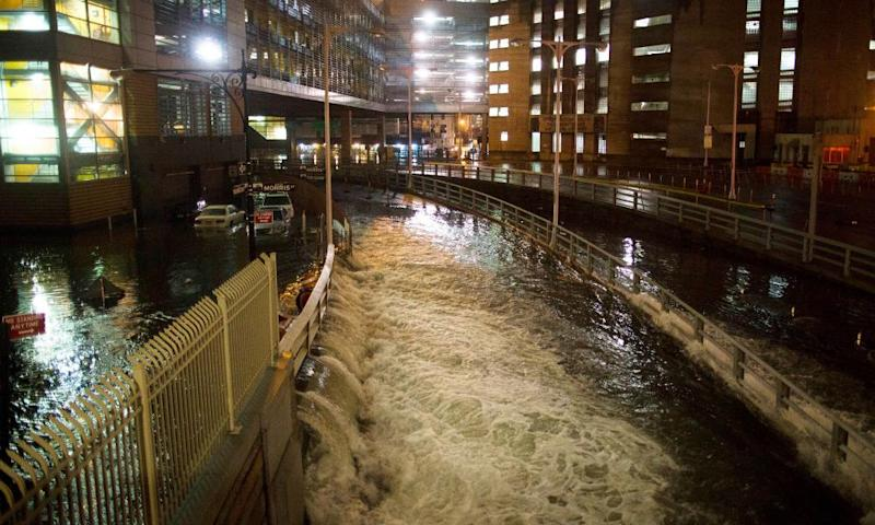 Seawater floods the entrance to the Brooklyn battery tunnel during Hurricane Sandy in 2012.