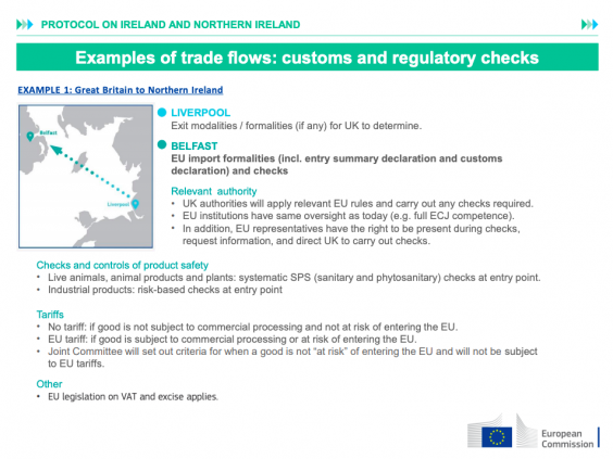 The slides detail the general nature of the checks and tariffs (European Commission)