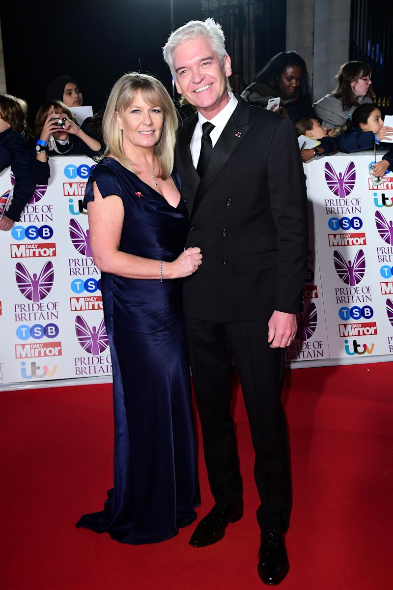 Phillip Schofield and his wife Stephanie attending The Pride of Britain Awards 2017, at Grosvenor House, Park Street, London. Picture Date: Monday 30 October. Photo credit should read: Ian West/PA Wire (Photo by Ian West/PA Images via Getty Images)